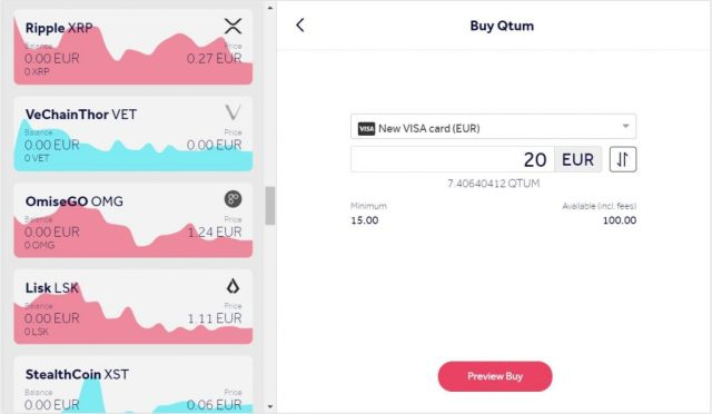 Buy Qtum using a credit card