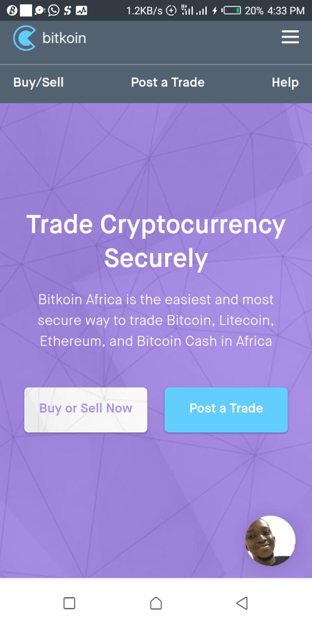Bitkoin Africa homepage