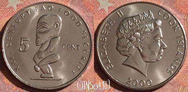 Монета Острова Кука 5 центов 2000 года, KM# 369, 063i-129 ...