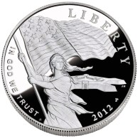 2012 Star-Spangled Banner Silver Commemorative Obverse depicts Lady Liberty waving the 15-star, 15-stripe Star-Spangled Banner flag with Fort McHenry in the background. Designed by Joel Iskowitz and engraved by Phebe Hemphill.