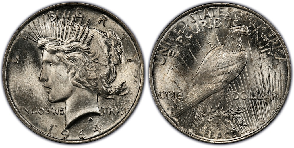 Artist's conception of a 1964-D Peace dollar.