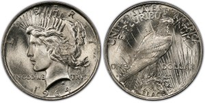 PCGS is offering a $10,000 reward to verify a genuine 1964-D Peace dollar, the number one coin on the new PCGS Top 100 Modern U.S. Coins list.  This image is a PCGS artist's conception of a 1964-D Peace dollar.