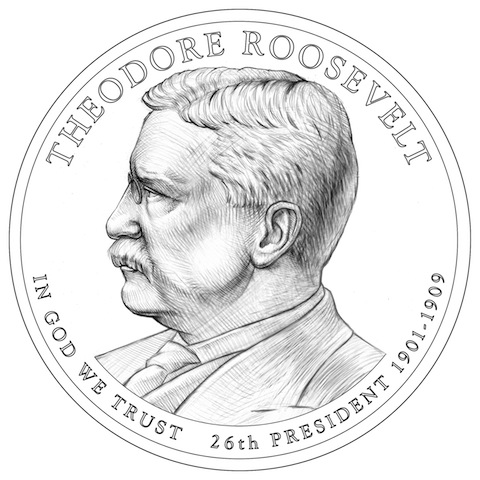 Line Art of the 2013 Theodore Roosevelt Dollar designed and engraved by Joseph Menna