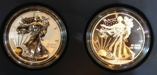 2013 American Eagle West Point Two-Coin Silver Set with reverse proof and enhanced uncirculated coins.