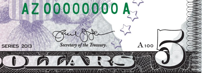 Mock-up of how Treasury Secretary Jack Lew's autograph will appear on the Series 2013 $5 Federal Reserve Note in the Fall.