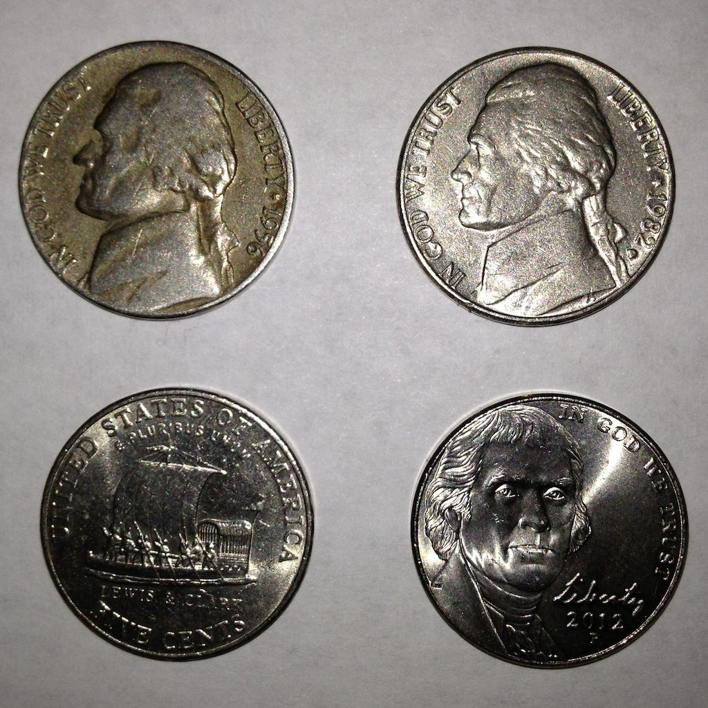 A small type set of Jefferson nickels found in pocket change. Top row: 1956-D and 1982-P. Bottom row: 2004-P Keelboat design and 2012-P.