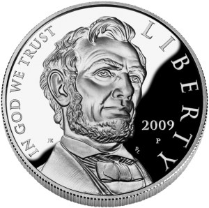Obverse of the 2009 Abraham Lincoln Commemorative proof coin