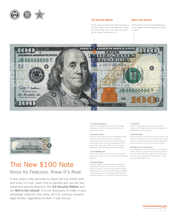 Information from the Bureau of Engraving and Printing as to how to use the new note's security features to ensure it is not a counterfeit. (click on image to see it full-size and ready for printing)