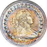 """1796 25C MS67+ NGC. CAC. B-2, R.3. Ex: """"Col."""" E.H.R. Green. The finest certified 1796 quarter."""