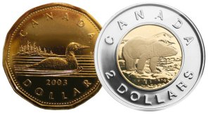 "Canadian 1-dollar and 2-dollar coins. The 1-dollar coin is called a Loonie because its reverse depicts a common loon. ""Toonie"" is a play on the Loonie nickname."