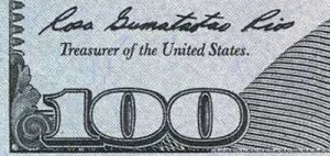 Rosie Rios signature on the older (Series 2009) $100 Federal Reserve Note