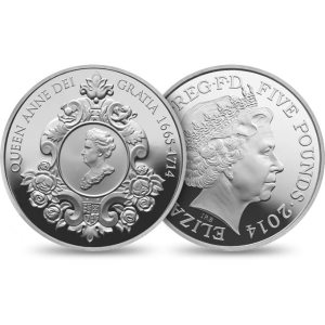 2014 £5 crown commemorating the 300th anniversary of the death of Queen Anne