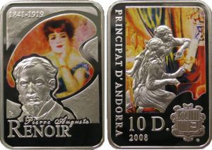 Andorra 2008 Great Painters - Pierre August Renoir 10 Diners Rectangular Silver Proof with Color