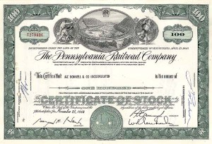 Pennsylvania Railroad stock certificate with famous horseshoe curve train scene.