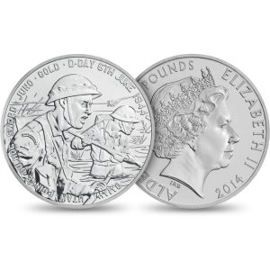 70th Anniversary of D-Day 2014 Alderney £5 BU Coin from the Royal Mint.