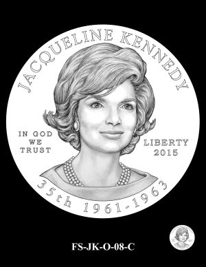The obverse design selected by the CCAC for the Jacqueline Kennedy First Spouse Gold Coin