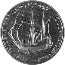 The image is of the Mayflower, the ship that brought the pilgrims to Massachusetts.