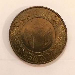 "Large Brass ""NYC Token"" used from 1980-1985 with missing ""Y"" (reverse)"