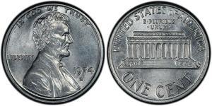 1974-D Experimental Lincoln cent pattern made using an aluminum planchet (J2151)