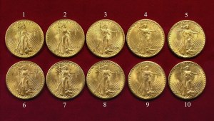 The ten 1933 Saint-Gaudens Double Eagles confiscated by the government from Joan Lanbord, daughter of Israel Switt.