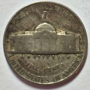 """1942-P Jefferson """"War"""" Nickel reverse"""