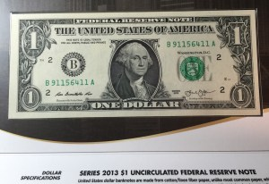 Series 2013 Uncirculated $1 Federal Reserve Note from the Federal Reserve Bank of New York