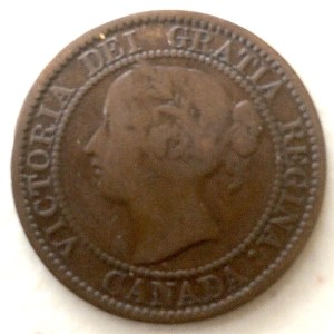 1858 Province of Canada Large Cent (Vickie Cent) obverse