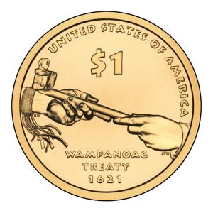 2011 Native American Dollar — Supreme Sachem Ousamequin, Massasoit of the Great Wampanoag Nation Creates Alliance with Settlers at Plymouth Bay (1621)