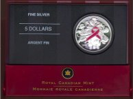 2006 Canada silver $5 Breast Cancer Commemorative Coin