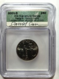2000-D New York quarter with Daniel Carr's autograph on ICG label