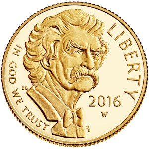 2016 Mark Twain Commemorative Gold $5 obverse