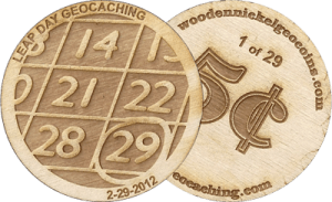Leap Day Geocoin Race (Courtesy of Wooden Nickel Geocoins)
