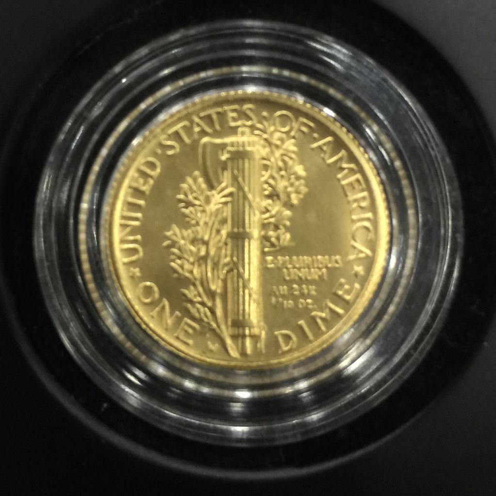 Reverse of the soon to be released Mercury Dime 2016 Centennial Gold Coin