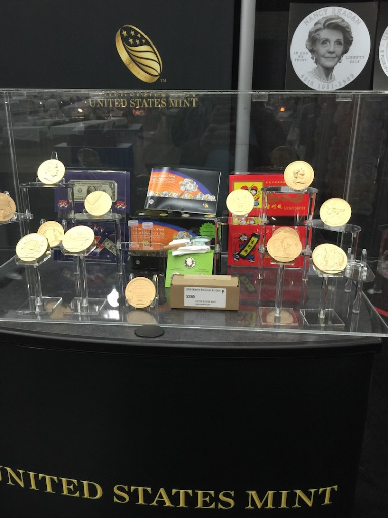 Medals on display at the U.S. Mint booth