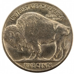 """Reverse of a 1913 Type 2 Buffalo nickel showing the """"FIVE CENTS"""" in the exergue."""