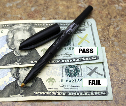 how to tell a counterfeit note using a counterfeit detection pen