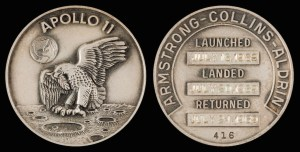 Apollo 11 flown silver Robbins Medal once owned by Wally Schirra