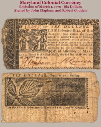 1770 Maryland Colonial 6-dollar note