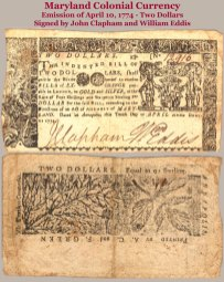 1774 Maryland colonial 2-dollar note