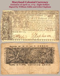 1774 Maryland Colonial 8-dollar note