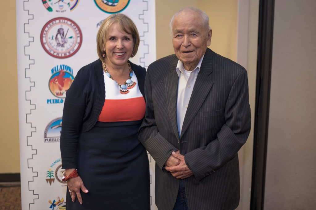 New Mexico Gov. Michelle Lujan Grisham and Sen. John D. Pinto