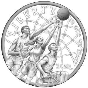 Naismith Memorial Basketball Hall of Fame Commemorative Coin obverse