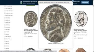 1943-S Steel Jefferson Nickel & Penny Struck Sold For $2,640 !