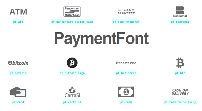 Webfont mit Bitcoin- & Payment-Icons