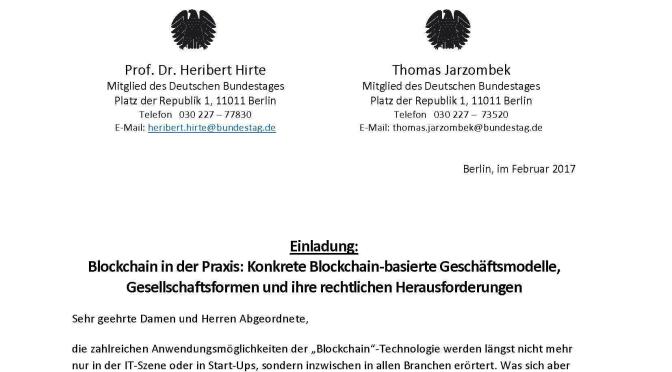 Heute: Blockchain als Thema im Bundestag