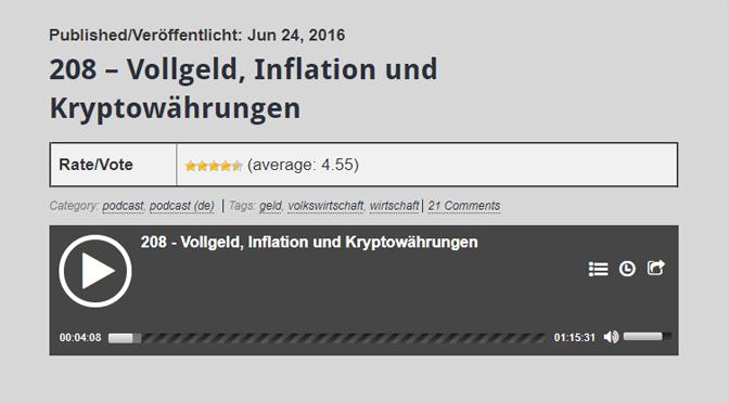 Guter Podcast über Vollgeld, Inflation und Bitcoin