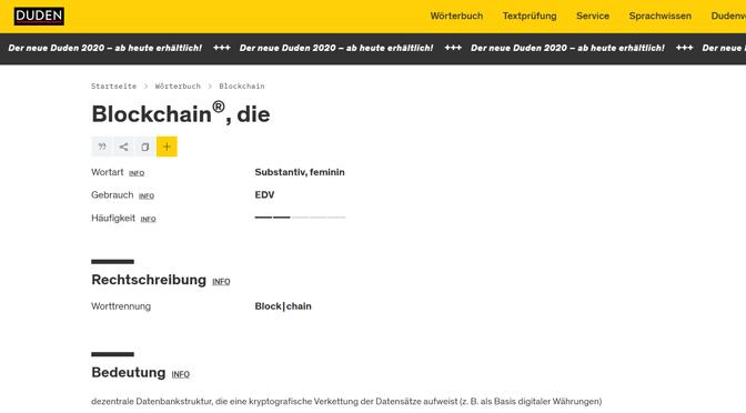 """""""Blockchain"""" steht jetzt im Duden, doch das Wie wirft Fragen auf"""