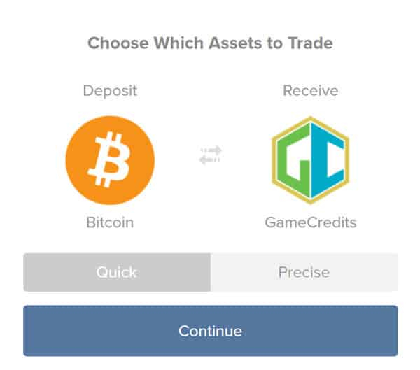 Buy GameCredits from Shapeshift