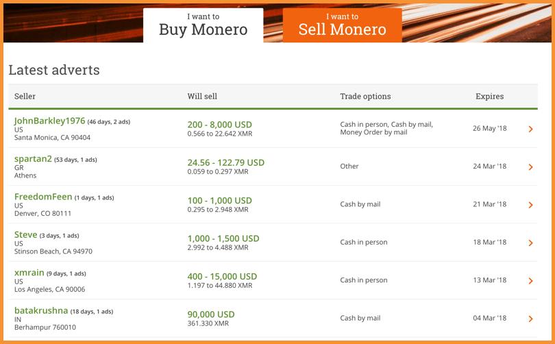 trade monero bitcoin