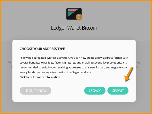 Choose address type - Ledger Wallet Bitcoin